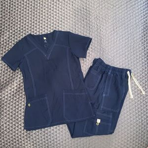 Wonerwink Navy Blue Scrub Set
